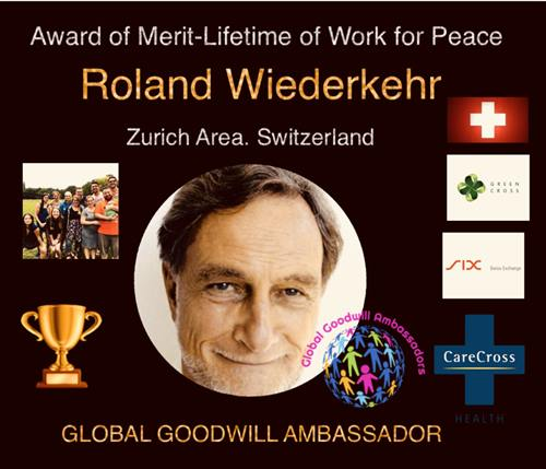 certificate of Global Goodwill Ambassador Roland Wiederkehr